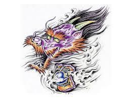 colorful cartoonized dragon magic ball fantasy tattoo sketch