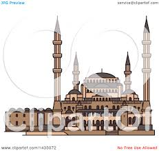 clipart of a line drawing styled turkey landmark kocatepe mosque