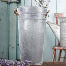 Galvanized Decor Ribbed Galvanized French Bucket Decorative Accents Primitive Decor