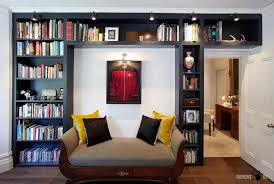 Bookcase Lamps An Elegant Library With Black Wooden Bookshelves And Lovely Padded