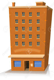 illustration of a cartoon shop building tower with apartments