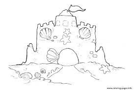 sand castle with shells coloring page3439 coloring pages printable
