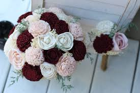 wood flowers marsala burgundy blush sola wood flower budget wedding bouquet set