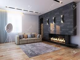 new interior design in minimalist style color version stock photo