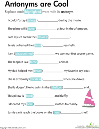 antonyms are cool reading worksheets third grade and kids writing