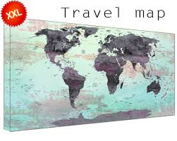 World Map Art Print by World Map Pin Board Canvas Art Print Large Wall Art World Map