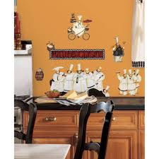 decorating fabulous metal kitchen wall decor in four frame with decorating attractive kitchen wall decor using fat chefs paintings on orange background vintage kitchen