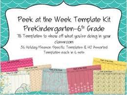 peek at the week templates prekindergarten 6th grade tpt