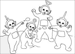 teletubbies playing snow coloring teletubbies