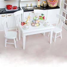5pcs 1 12 wooden kitchen dining table chair set barbie dollhouse