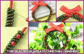 diy bead ribbon wreath ornament tutorials