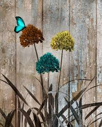 rustic modern butterfly flowers farmhouse theme home decor wall