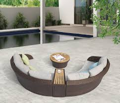 Curved Sofa Set Evian Modern Outdoor Curved 4 Seater Sofa Set With Built In Side Table