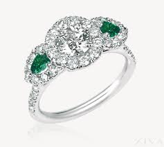 emerald stones rings images 3 stone halo diamond ring with pear shaped emerald sides png