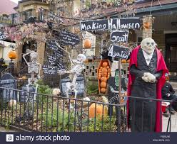 halloween decorated homes for halloween decorated residential house in the cobble hill stock