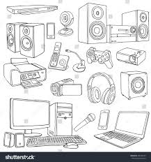 audio visual system appliances living room stock vector 408196339