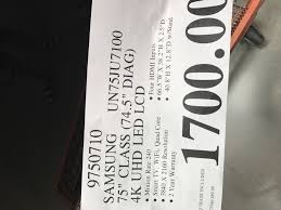 best deals tv slickdeals not black friday samsung 75 inch tv 4k uhd led lcd un75ju7100 costco 1700