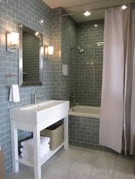 blue glass subway tile bathroom room design ideas
