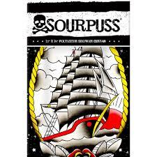 clipper ship tattoo shower curtain rockabilly punk retro tattoo