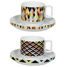 viva cup and saucer duo chevron patterned mug set magpie