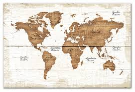 wood world distressed wood world map canvas wall traditional prints