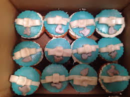 tiffany themed baby belly cake for baby shower w matching cupcakes