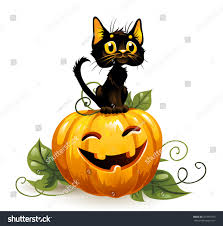 halloween background black cat black cat on halloween pumpkin white stock vector 281891873