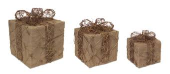 pre lit christmas gift boxes set of 3 lighted jute rattan gift boxes christmas