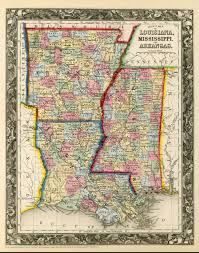 Usa Map 1860 by Vintage State Map Of Arkansas Louisiana Mississippi 1860 Print