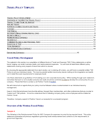 travel policy template free word templates