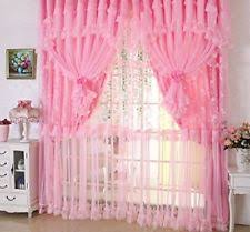 Ruffled Pink Curtains Jacquard Princess 4 Layer Ruffle Lace Embroidered Tulle Window