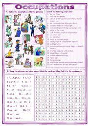 english worksheet match u0026 find occupations worksheet