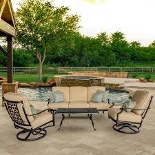 Conversation Patio Furniture Sets - carondelet 4 piece cast aluminum patio conversation set w sofa