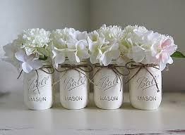 Mason Jar Flower Arrangement White Cream Distressed Mason Jars Mason Jar Centerpieces