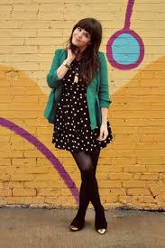 huegotthelook the green jacket black and white polka dot dress