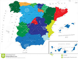 The Map Of Spain by Spain Map Flag And Navigation Labels Illustration Stock