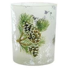 pine cone tea light holder buy 12cm glittery pine cone glass christmas tea light candle holder