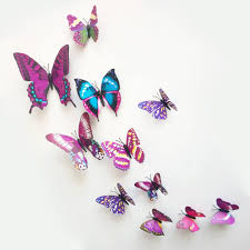 wall stickers and murals amazon co uk 12 pieces 3d butterfly stickrs fashion design diy wall decoration house decoration babyroom decoration purple by zooyoo 0 50 more buying choices