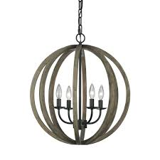 Metal Chandelier Feiss Allier 4 Light Weathered Oak Wood Antique Forged Iron