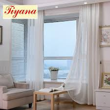 White And Yellow Curtains Thick Cotton Linen Tulle Curtains Decorative Hotel Modern