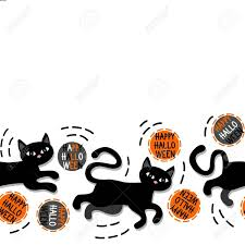 halloween black and white background black cats with halloween wishes horizontal border on white