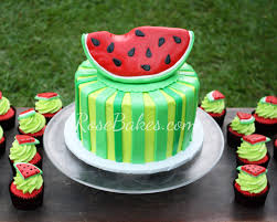 watermelon cake and watermelon cupcakes rose bakes