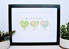 best unique wedding gifts unique wedding gift for map heart heart map