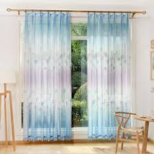 Ombre Sheer Curtains White Beautiful Dandelion Summer Embroidered Sheer Curtains