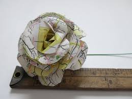 hand sculpted paper rose old road map paper flower home decor