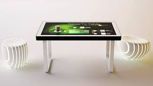 touch screen coffee table tablertv s touch screen coffee table lets you interact with multiple