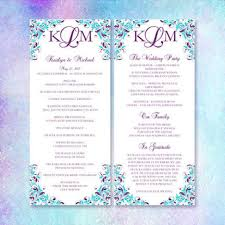 purple wedding programs slim wedding program kaitlyn purple turquoise wedding template shop