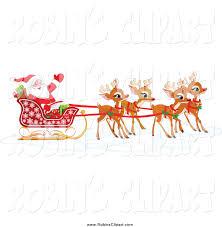 clip art of adorable christmas reindeer pulling santa u0027s sleigh by