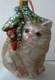grey tabby cat katze blown glass tree ornament grey