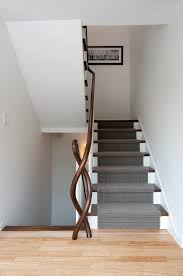 Banister Stair Dark Wood Banister Staircase Contemporary With Light Wood Floor